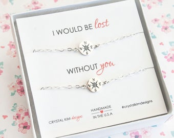 I Would Be Lost Without You, Sterling Silver Compass Bracelet for 2, Best Friend Gift, Mother Daughter Gift, Sister Gift, Graduation Gift