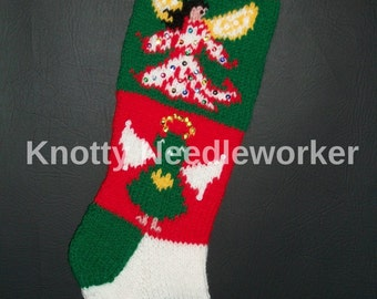PDF Chart Only 2 in 1 ANGELS from ABOVE Hand Knitted Christmas Stocking Pattern