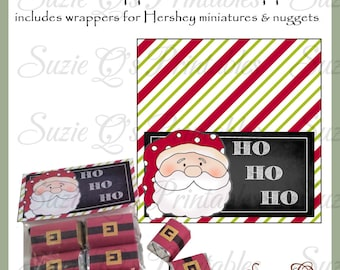 Santa Topper and Candy Wrappers - Wrappers for Hershey miniatures and nuggets - Digital Printable - Immediate Download