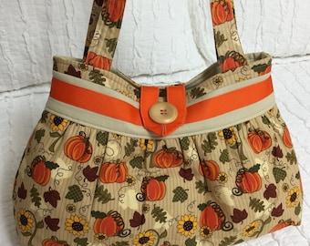 Autumn Handbag, Sunflowers Pumpkins Slouch Bag, Fall Purse Handbag Tote, Bag, Halloween Orange, tan, yellow, cloth purse tote, handmade