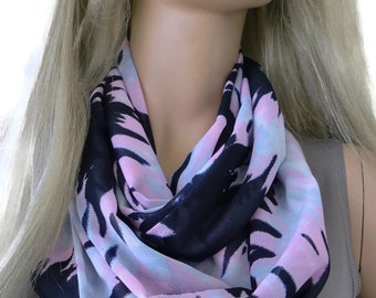 Pink,black and gray Chiffon Infinity scarf  cowl   Necklace scarf -Tube version