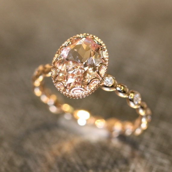 Floral Morganite Engagement Ring in 14k Rose Gold Pebble