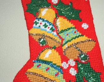 Vintage Handmade Needlepoint and Sequin Christmas Stocking