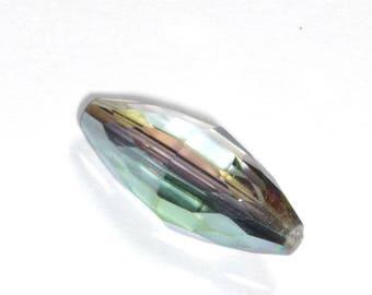 Oval glass bead transparent irise18x8mm