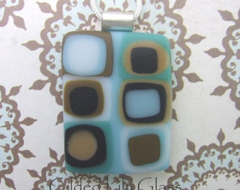 Aqua Latte Pendant, Fused Glass Jewelry from North Carolina