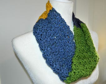 Crocheted Multi-Colored Infinity Scarf