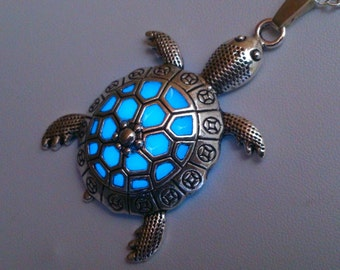 Tortoise Necklace - Turtle Jewelry - Beach Jewelry - Sea Turtle Glow Pendant - Turtle Pendant - Glowing Jewelry - Sea Turtle Jewelry