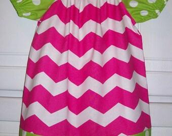 Girls Dresses Peasant dress Chevron dress Hot Pink and Lime Short Sleeve dress baby dresses toddler dresses Birthday Dress Spring Dresses