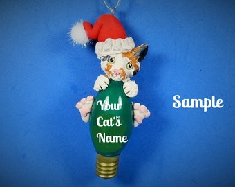 Calico Santa Kitty Cat Christmas Light Bulb Ornament Sally's Bits of Clay PERSONALIZED FREE with cat's name