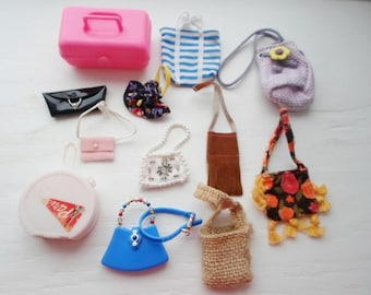 Vintage Lot Of 12 Doll Purses, Barbie Purse & Belt Set, Barbie Doll Accessories, Doll, Fashion Doll Accessories, Plastic, Cloth, Collectible