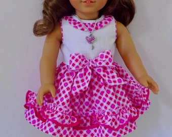 "FF26 Ruffle Party Dress,  Valspierssews 18"" Doll Clothes Pattern, Fits Popular 18"" Dolls"