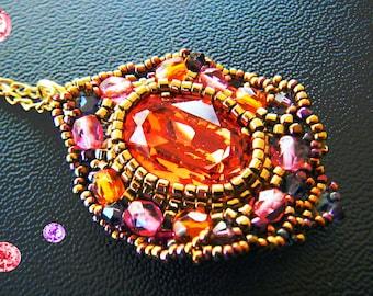 Woven Swarovski Padparadscha, pink, purple, old gold Crystal pendant
