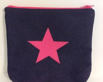 Pink star makeup purse, pink cosmetic purse, star wash bag,makeup bag,pencil case,pink star denim zip bag,makeup bag