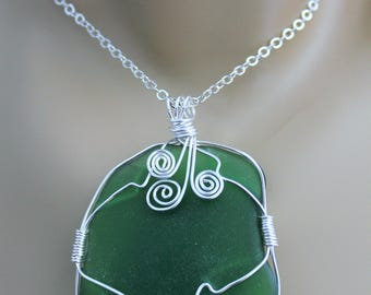 Large Genuine Green Sea Glass Wire Wrapped Pendant with Sterling Silver Chain, One Of A Kind Pendant, Beach Glass Pendant