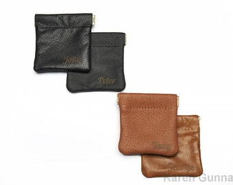 Personalized Leather Coin Pouch/Groomsmen Gift / Change Purse/ Squeeze Frame Coin Case