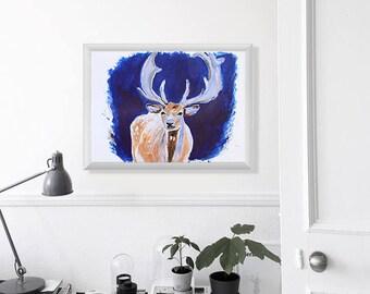 "Deer Painting Art Acrylic Original // ""30×40 cm""  on Paper"