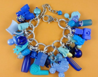 Blue Chunky Charm Bracelet - loaded with beads and repurposed mini plastic toys - funky big chain - kitsch cute Fairy-Kei Harajuku Decora