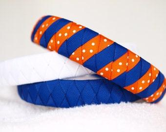 Ribbon Headband   University of Florida Royal and Orange Headband   Set of 3 Boutique Ribbon Headbands - FL Gators, Orange and Blue