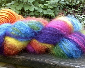 Bold Rainbow Brushed Mohair Yarn--2 Ounces--125 Yards--Plant Dyed--Fairy Hair