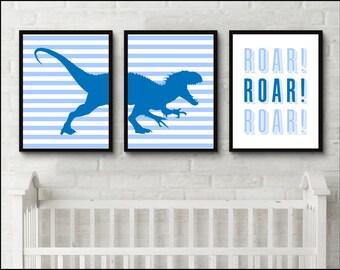 Nursery Dinosaur Prints Boys room Blue Printable Roar nursery set of 3 prints Nursery Wall Art Baby Boy Room Dinosaur art prints