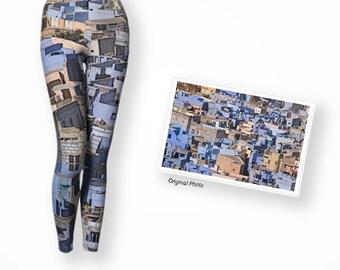 Long yoga leggings in blues, original art leggings, fold over waist yoga leggings, compression fit fabric, dressy leggings, day wear legging