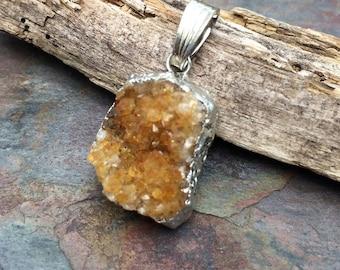 Semi Precious Amber Citrine Druzy 28x16 mm Pendant