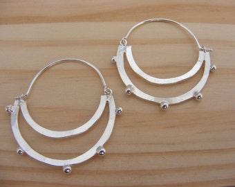 Silver Ethnic hoop Earrings