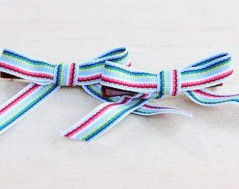 Ribbon Hair Clips - Blue Stripes