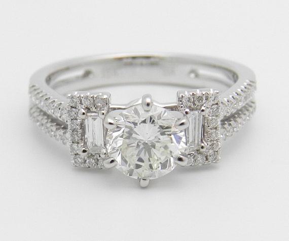 Diamond Engagement Ring 18K White Gold 1.40 ct Brilliant Natural Genuine Diamond Engagement Ring Size 6.5
