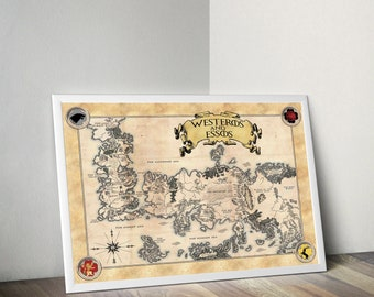 Westeros and Essos Map Game of Thrones GoT Parchment Quality Prints Wall Decor Geek Nerd Fantasy Poster Targaryen Stark Baratheon Lannister