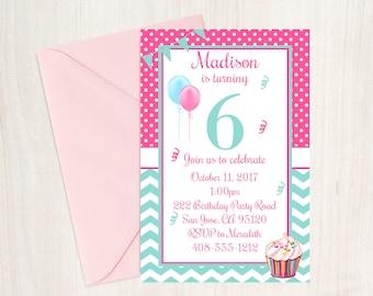 6th Birthday Party Invitation, 6th Birthday, Party Invitation, Sixth Birthday Invitation, Girls Birthday Invitation, Cupcake Birthday
