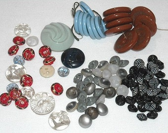 Bag Full Of Vintage Glass Art Deco Buttons