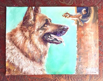Dog and Squirrel. Original oil painting (not a print).