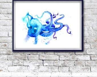 Watercolor Art, octopus, Digital Print, Instant Download Printable Art, watercolor octopus painting, octopus painting, animals painting