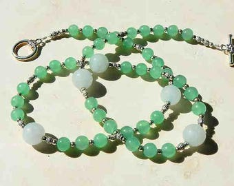 Jade Stone Necklace of Two Tones of Round Stones With Silver Plated Toggle Clasp