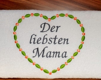 Embroidered towel for mother's day
