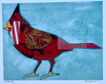 Red Cardinal Silhouette Mixed Media Art Print Gifts Under 25 Home Decor Gifts for Her