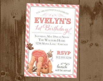 Sweet Baby Girl Vintage First Birthday Party Invite -  Pink Gingham - ruffle butt