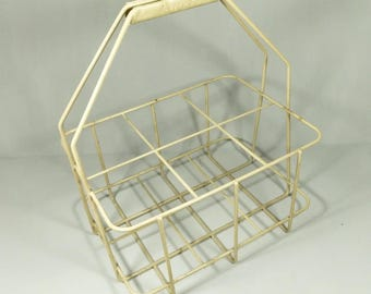 French Vintage Metal Bottle Carrier, Milk Bottle Carrier, Wine Bottle Carrier, French Kitchen Decor