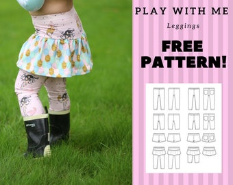 FREE Play with me leggings PDF sewing pattern, tutorial, instant download