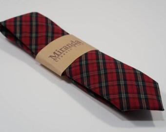 Soft Cotton Red Tartan Plaid Necktie