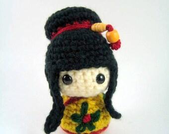 Mei Mei Kokeshi Doll Amigurumi Crochet Pattern PDF file