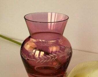 Small Cranberry Cut Glass Vase