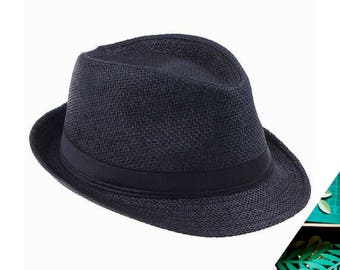 Black Straw Fedoras Hat