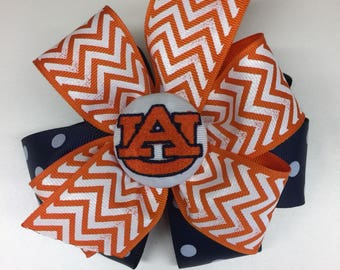Chevron Auburn Tigers Monogrammed Boutique Hair Bow