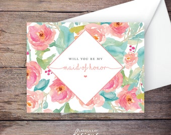 Printable Will You Be My Maid of Honor Card, Instant Download Greeting Card, Will You Be My Bridesmaid, Wedding Card – Tallulah