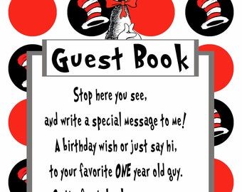 Dr. Seuss Guestbook Sign for 1 year old boy