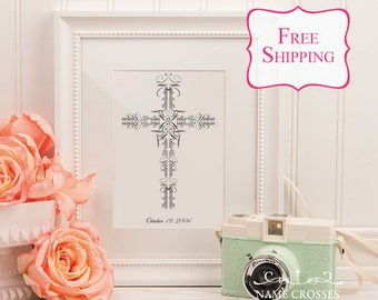 Personalized Christian Wedding Gift - Unique Name Cross - Christian Marriage gift - Wedding Vows Verse - Couples name - 8x10 - FREE SHIPPING