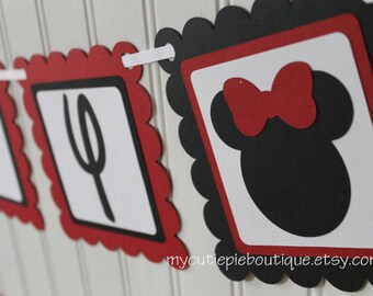 Red Minnie Mouse Birthday Party Banner, Minnie Banner, Mickey Banner, Minnie Birthday Banner, Red Minnie Banner