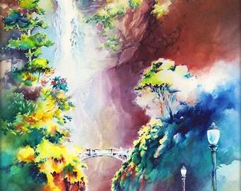 Multnomah Falls Watercolor Painting Print. Columbia River Gorge Oregon. Michael David Sorensen. Pacific Northwest Colorful Landscape Artwork